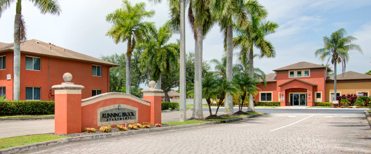 The front entrance to Running Brook Apartments in Miami, Florida