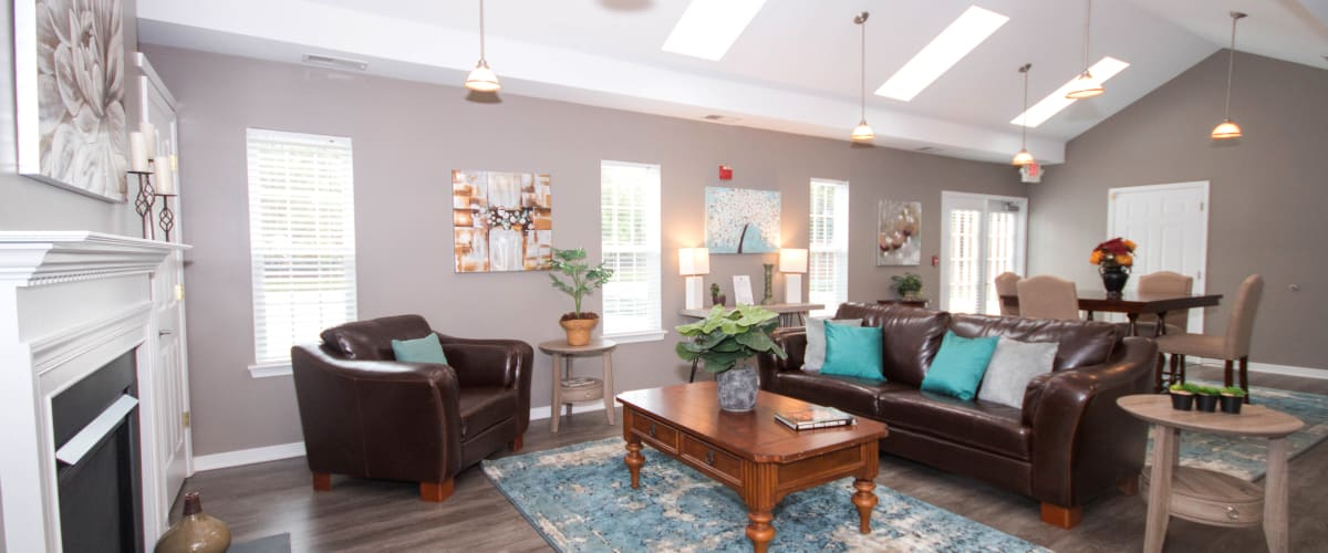 Beautiful bright living room at Longhill Grove in Williamsburg, Virginia