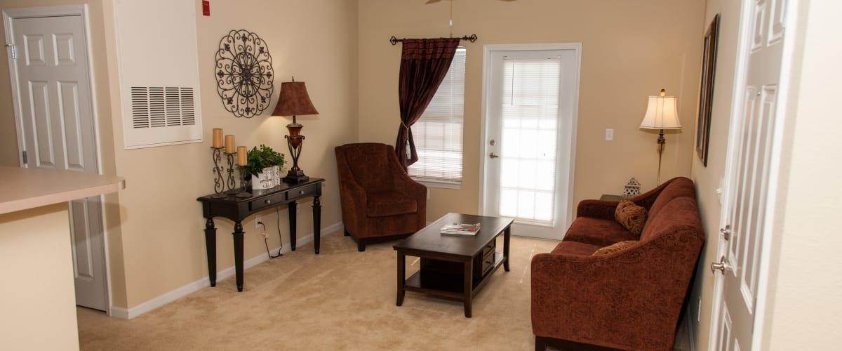 A spacious dining room at O'Fallon Lakes in O'Fallon, Missouri