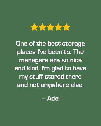 Five star review of STOR-N-LOCK Self Storage in Cottonwood Heights, Utah, from Adel