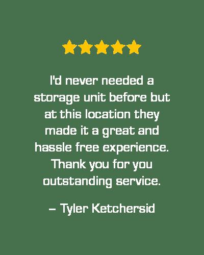 Five star review of STOR-N-LOCK Self Storage in Cottonwood Heights, Utah, from Tyler