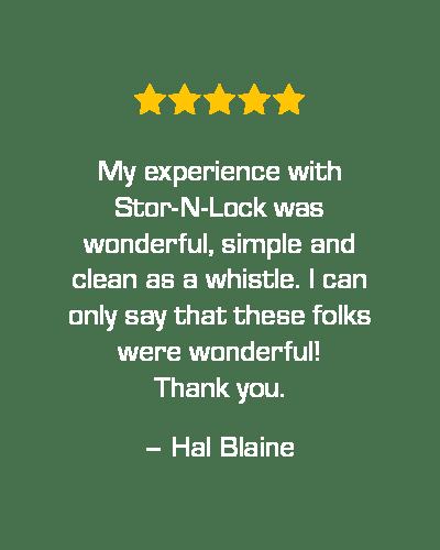 Five star review of STOR-N-LOCK Self Storage in Taylorsville, Utah, from Hal