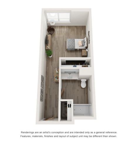Studio Memory Care Floor Plan at The Vista in Esquimalt, British Columbia