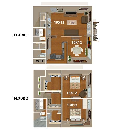 The Parthenon Townhome floor plan at 865 Bellevue Apartments in Nashville, Tennessee.