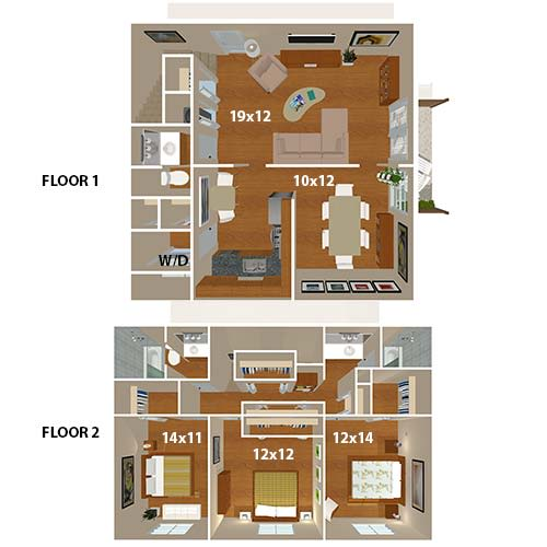 The Plantation Townhome floorplan at 865 Bellevue Apartments in Nashville, Tennessee.