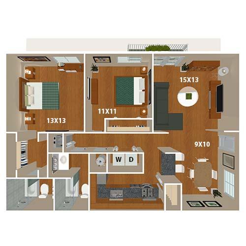 The Titan 2 bedroom floor plan at 865 Bellevue Apartments in Nashville, Tennessee.