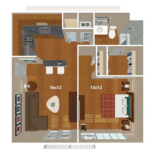 The Bluebird 1 bedroom floor plan at 865 Bellevue Apartments in Nashville, Tennessee.
