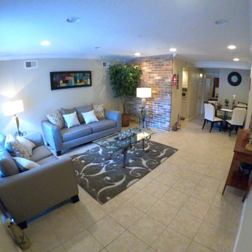 Model living room layout at 2929 Dunvale in Houston, Texas