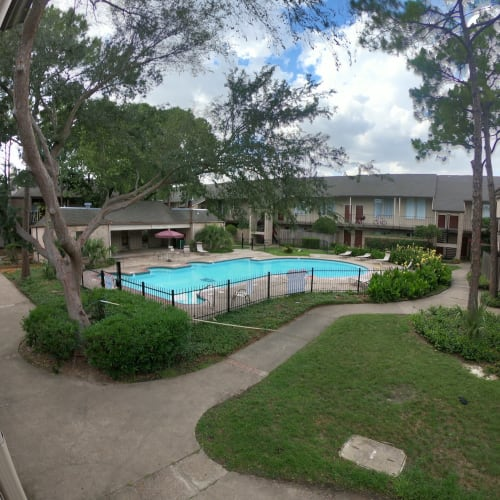 Outdoor pool in courtyard at 2929 Dunvale in Houston, Texas