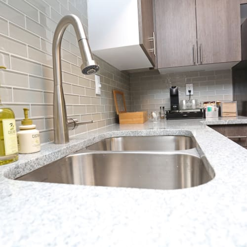 Close up on the kitchen sink at The August Apartments in Lexington, Kentucky