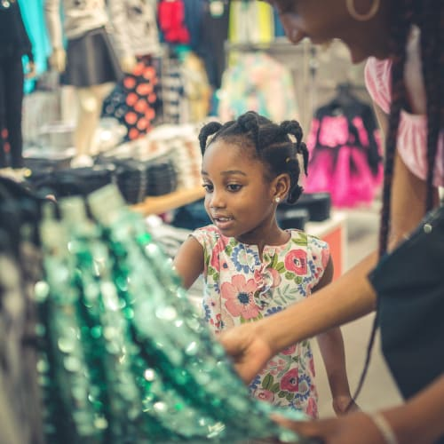 Resident and her daughter shopping for clothes near Oakwood Apartments in West Carrollton, Ohio