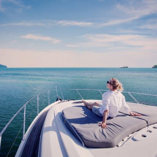 Resident enjoying the boating community at Portside Ventura Harbor in Ventura, California