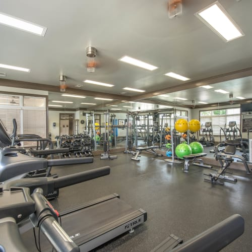 Well-equipped onsite fitness center at Olympus Hillwood in Murfreesboro, Tennessee
