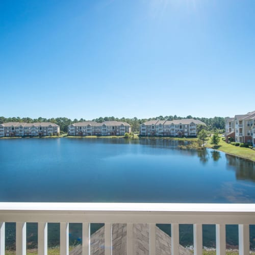 Balcony view at Odyssey Lake in Brunswick, Georgia