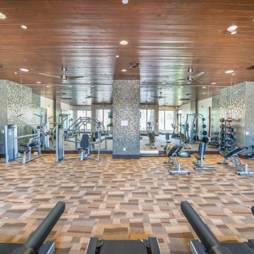 Well-equipped onsite fitness center at Olympus Encantada in Albuquerque, New Mexico