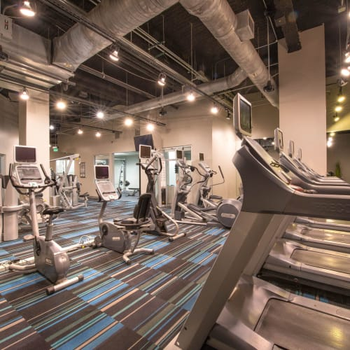 Well-equipped onsite fitness center at Mosaic Dallas in Dallas, Texas