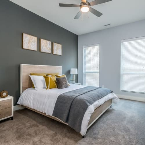 Master bedroom model of Alexander Pointe Apartments in Maineville, Ohio