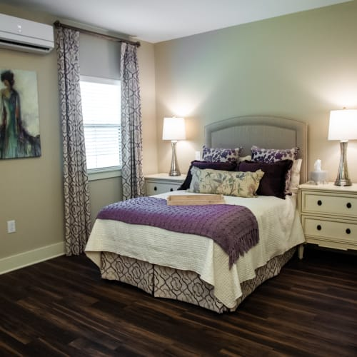 Cozy resident bedroom at Westminster Memory Care in Lexington, South Carolina