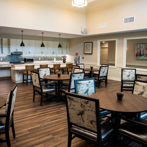 Spacious resident dining room at Westminster Memory Care in Lexington, South Carolina