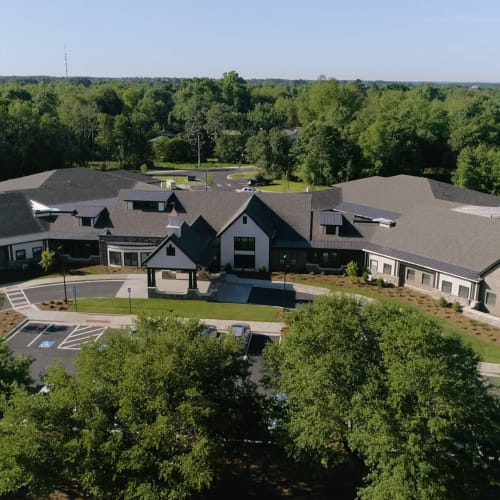 Aerial view of apartments and grounds at Westminster Memory Care in Lexington, South Carolina