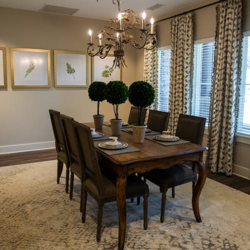 Intimate private dining room for residents at Westminster Memory Care in Lexington, South Carolina