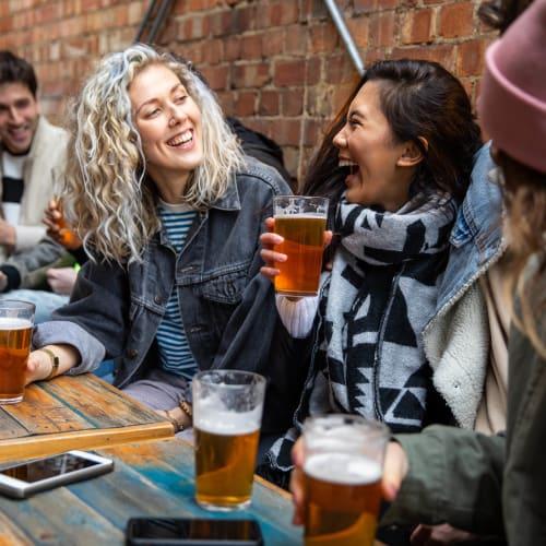Resident friends at their favorite brewpub near Portland, Oregon near Ascend
