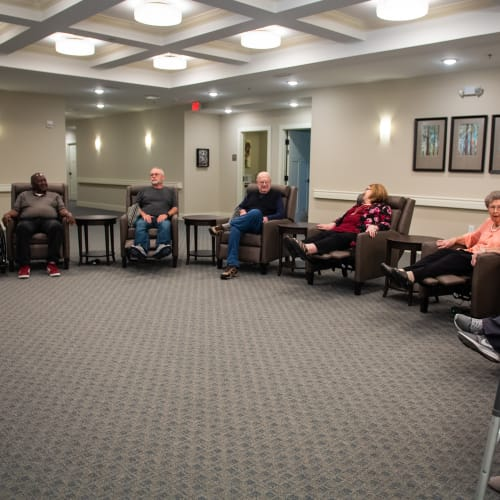 Residents using theater sitting at Westminster Memory Care in Aiken, South Carolina.