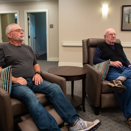Resident's watching a movie at Westminster Memory Care in Aiken, South Carolina.