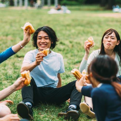 Friends enjoying a picnic at IDENTITY Boise in Boise, Idaho
