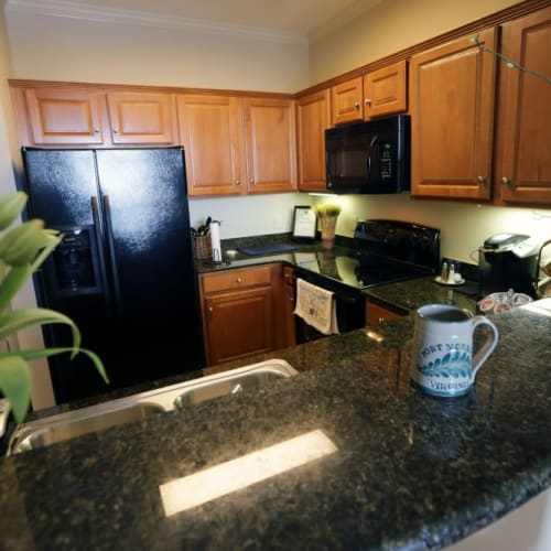 Large kitchen with plenty of counter top space at The Chamberlin in Hampton, Virginia