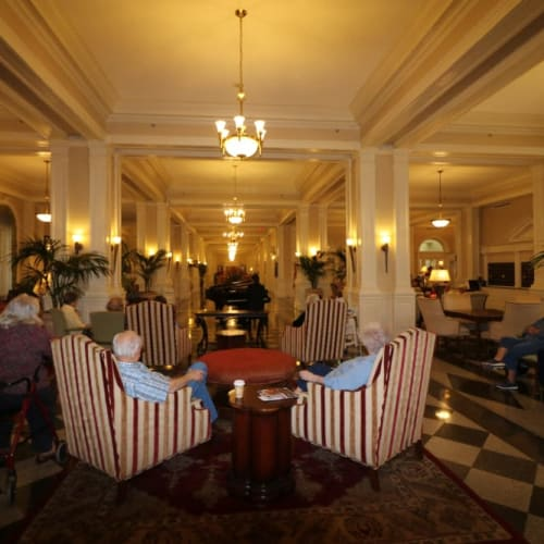 Residents lounging at The Chamberlin in Hampton, Virginia