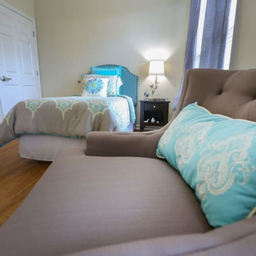 Resident bedroom at The Crossings at Ironbridge in Chester, Virginia