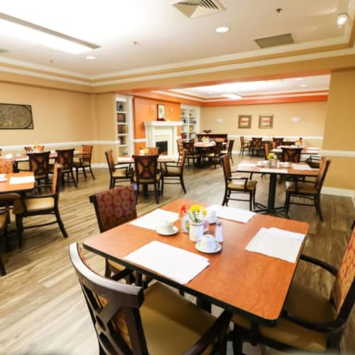 Dining hall at The Crossings at Ironbridge in Chester, Virginia
