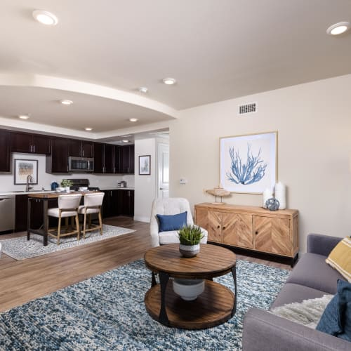 Open-concept living area in a live/work space at Portside Ventura Harbor in Ventura, California