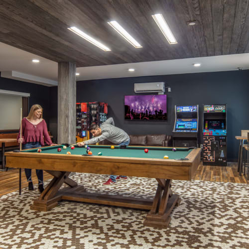 Game room with a billiards table at IDENTITY Moscow in Moscow, Idaho