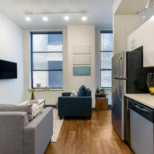 Apartment with wood style flooring at INFINITE in Chicago, Illinois