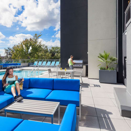 Outdoor poolside lounge at Social 28 in Gainesville, Florida