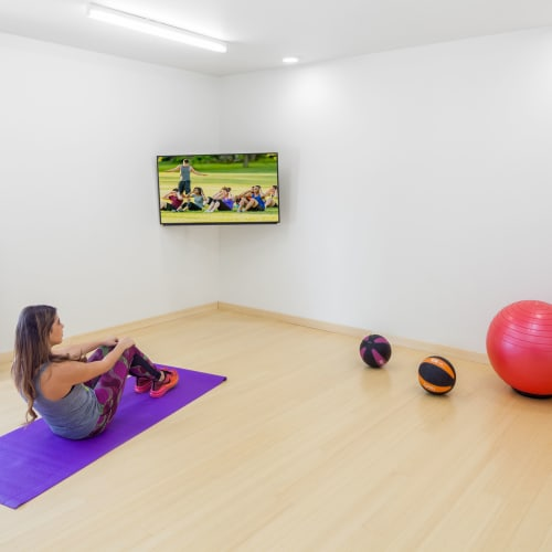 Yoga room at Social 28 in Gainesville, Florida
