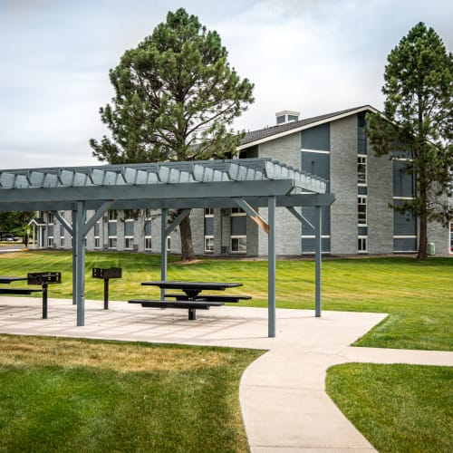 Picnic and BBQ area outdoors at Florida Station Apartments in Aurora, Colorado