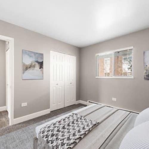 Bedroom at Crestone Apartments in Brighton, Colorado