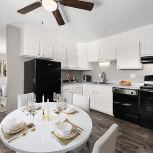 Dining table in model apartment home at Crestone Apartments in Brighton, Colorado