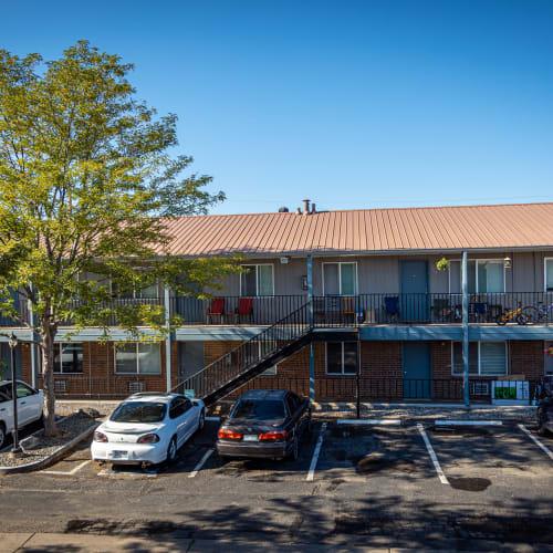 Parking lot at Crestone Apartments in Brighton, Colorado