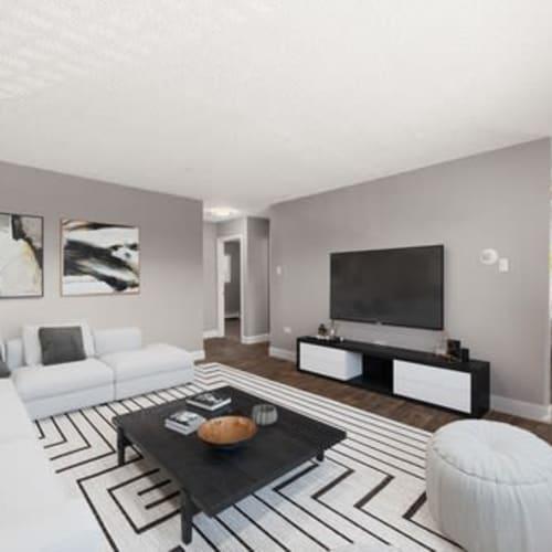 Living room at Crestone Apartments in Brighton, Colorado
