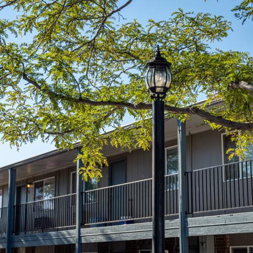 Patios and balconies at Crestone Apartments in Brighton, Colorado