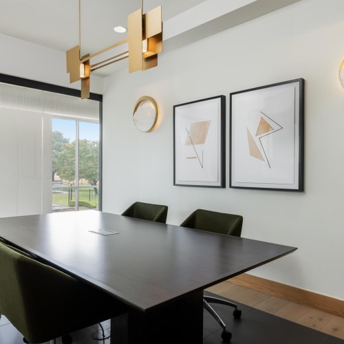 Meeting rooms for resident use in the business center at 4600 Ross in Dallas, Texas