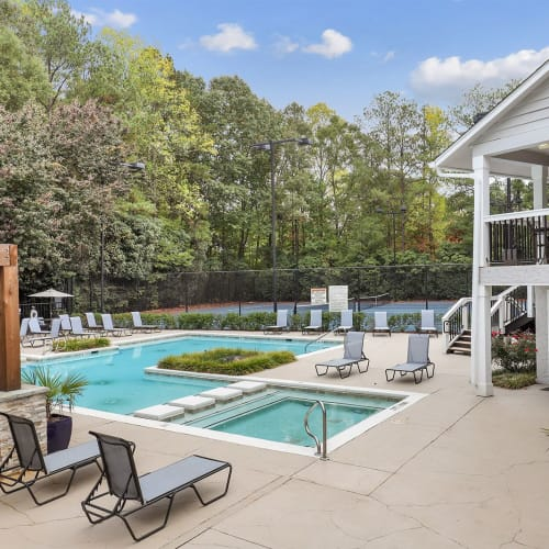 Stunning outdoor swimming pool at The Alcove in Smyrna, Georgia