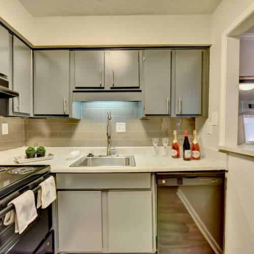 Modern, sleek kitchen at Fields at Peachtree Corners in Norcross, Georgia