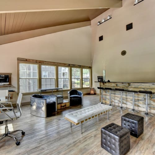 Luxurious Clubhouse Lounge at Fields at Peachtree Corners in Norcross, Georgia
