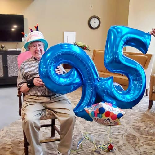 Celebrating a birthday at The Oxford Grand Assisted Living & Memory Care in Kansas City, Missouri