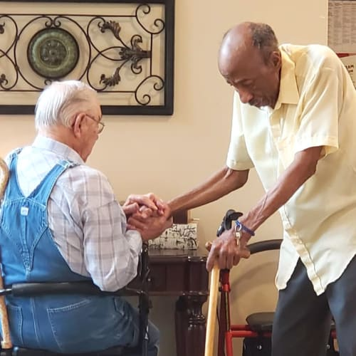 Two residents at The Oxford Grand Assisted Living & Memory Care in Kansas City, Missouri